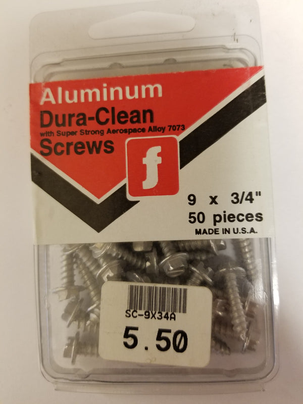 Aluminum Dura-Clean Screws 3/4 Inch ( Wont Rust )