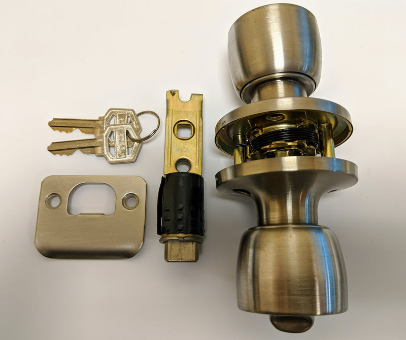 J&D Stainless Interior Privacy Knob Handle Lockset With Keys