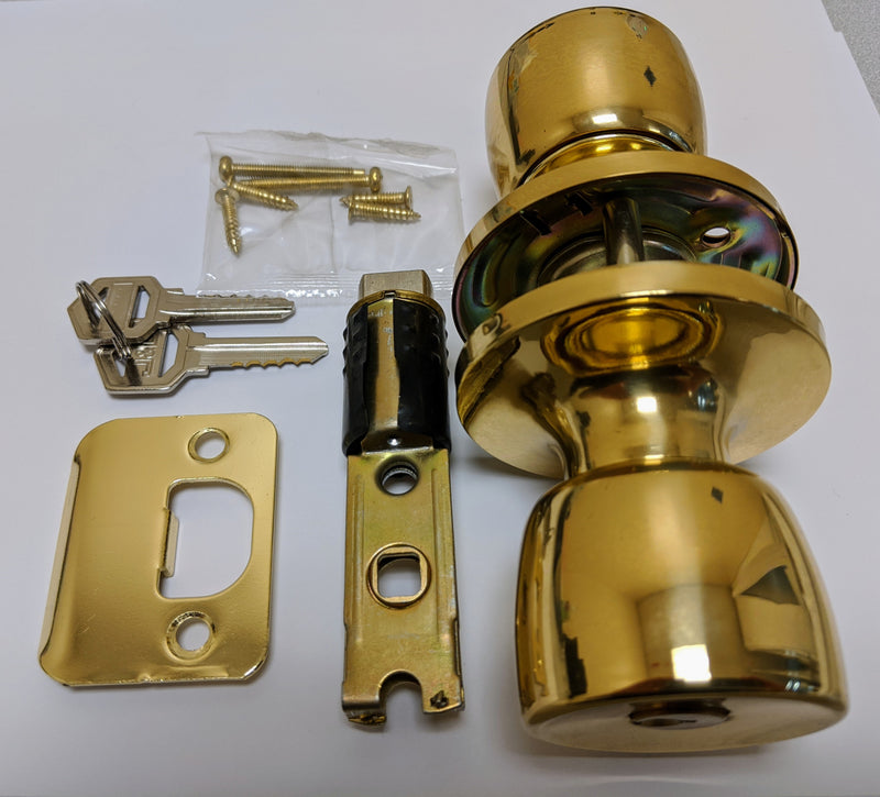 J&D Polish Brass Interior Privacy Knob Handle Lockset With Keys
