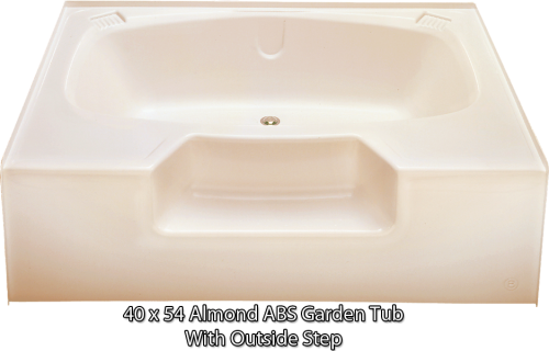 Kinro Permalux 40 in x 54 in Mobile Home Tub with Rear Center Drain (Almond Color)