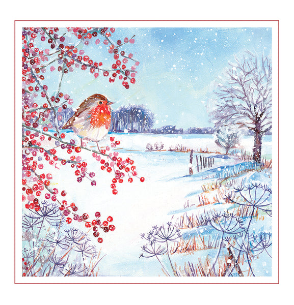 Christmas Card - Robin on Red Berries