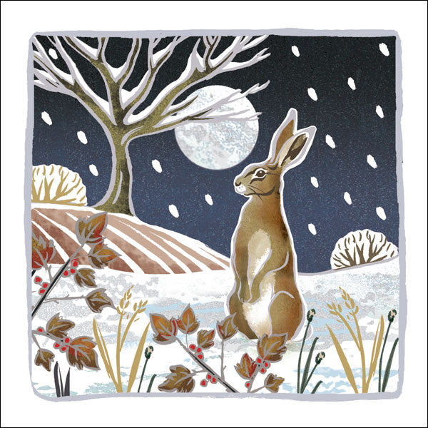 Christmas Card - Hare by Moonlight
