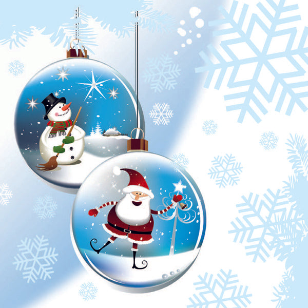 Christmas Card - Fun Baubles (with glitter)