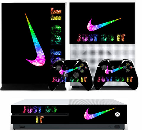 NIKE TICK BRIGHT XBOX ONE S (SLIM) *TEXTURED VINYL ! * PROTECTIVE SKIN DECAL WRAP