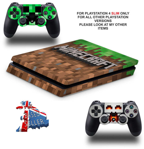 MINECRAFT PS4 SLIM *TEXTURED VINYL ! *PROTECTIVE SKINS DECALS WRAP