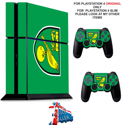 NORWICH CITY PS4 *TEXTURED VINYL ! * PROTECTIVE SKINS DECAL WRAP STICKERS