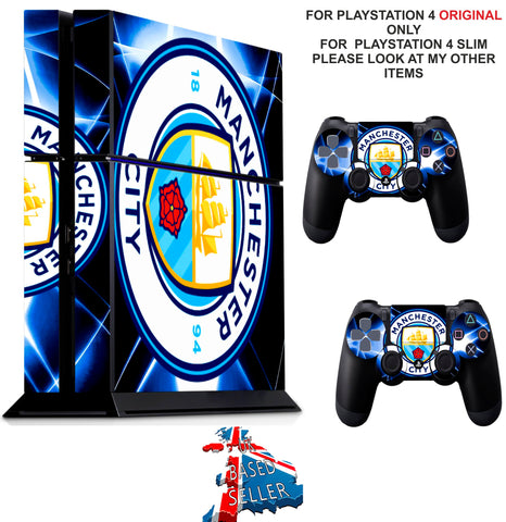 MANCHESTER CITY PS4 *TEXTURED VINYL ! * PROTECTIVE SKINS DECAL WRAP STICKERS
