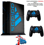 ADIDAS BLACK & BLUE PS4 *TEXTURED VINYL ! * PROTECTIVE SKINS DECAL WRAP STICKERS