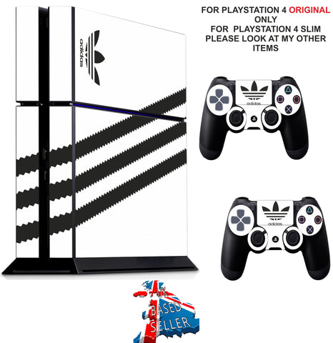 ADIDAS WHITE & BLACK PS4 *TEXTURED VINYL ! * PROTECTIVE SKINS DECAL WRAP STICKERS