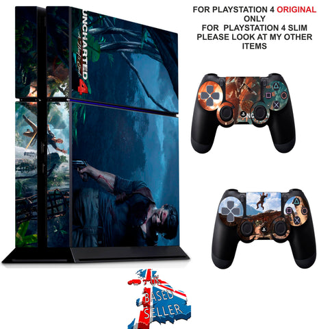 UNCHARTED 4 PS4 *TEXTURED VINYL ! * PROTECTIVE SKINS DECAL WRAP STICKERS