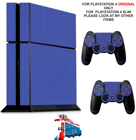 PURPLE/BLUE CARBON STYLE PS4 *TEXTURED VINYL ! * PROTECTIVE SKINS DECAL WRAP STICKERS