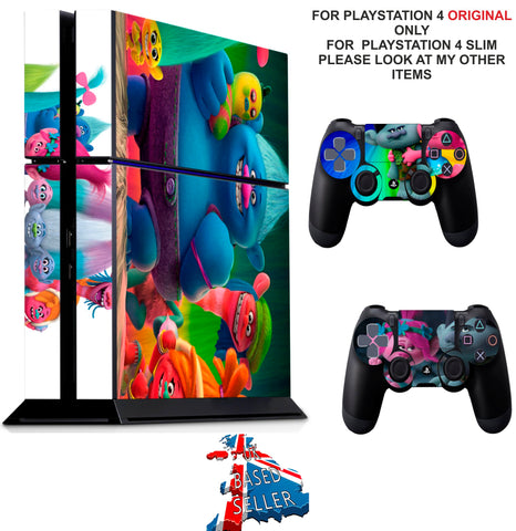 TROLLS PS4 *TEXTURED VINYL ! * PROTECTIVE SKINS DECAL WRAP STICKERS