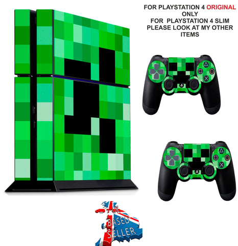 GREEN PIXELS PS4 *TEXTURED VINYL ! * PROTECTIVE SKINS DECAL WRAP STICKERS