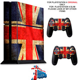 UNION JACK GRUNGE PS4 *TEXTURED VINYL ! * PROTECTIVE SKINS DECAL WRAP STICKERS