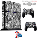 BLACK & WHITE STICKER BOMB PS4 *TEXTURED VINYL ! * PROTECTIVE SKINS DECAL WRAP STICKERS
