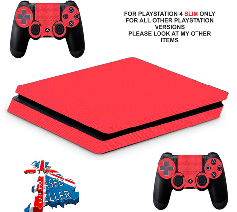 RED CARBON EFFECT PS4 SLIM *TEXTURED VINYL ! *PROTECTIVE SKINS DECALS WRAP