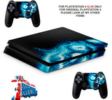 BLUE SKULL PS4 SLIM *TEXTURED VINYL ! *PROTECTIVE SKINS DECALS WRAP