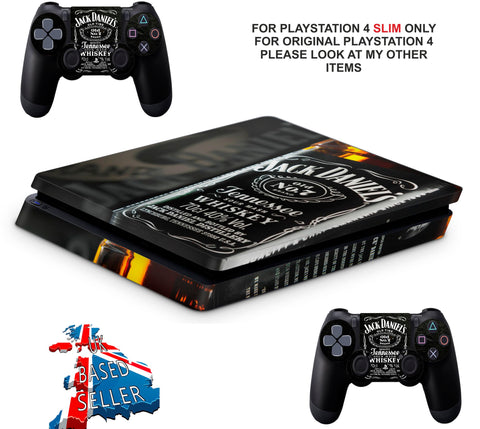 JACK DANIELS PS4 SLIM *TEXTURED VINYL ! *PROTECTIVE SKINS DECALS WRAP