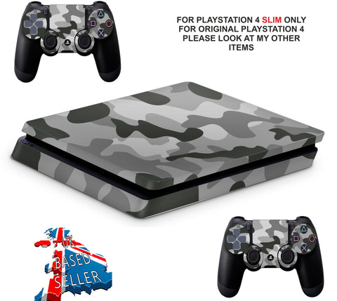 GRAY CAMO PS4 SLIM *TEXTURED VINYL ! *PROTECTIVE SKINS DECALS WRAP