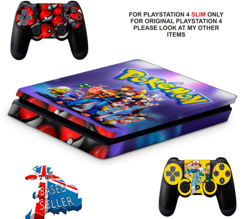POKEMON PS4 SLIM *TEXTURED VINYL ! *PROTECTIVE SKINS DECALS WRAP