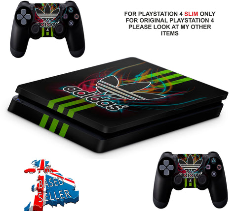 ADIDAS GREEN STRIPES PS4 SLIM *TEXTURED VINYL ! *PROTECTIVE SKINS DECALS WRAP