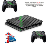 GREEN HEX PS4 SLIM *TEXTURED VINYL ! *PROTECTIVE SKINS DECALS WRAP