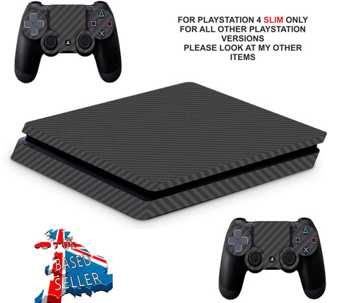 BLACK CARBON EFFECT PS4 SLIM *TEXTURED VINYL ! *PROTECTIVE SKINS DECALS WRAP