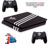 ADIDAS BLACK & WHITE STRIPES PS4 SLIM *TEXTURED VINYL ! *PROTECTIVE SKINS DECALS WRAP