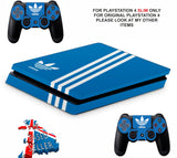 ADIDAS BLUE STRIPES PS4 SLIM *TEXTURED VINYL ! *PROTECTIVE SKINS DECALS WRAP