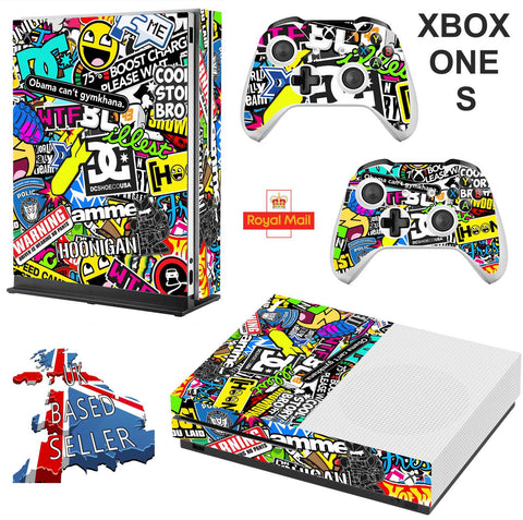 STICKERBOMB XBOX ONE S (SLIM) *TEXTURED VINYL ! * PROTECTIVE SKIN DECAL WRAP