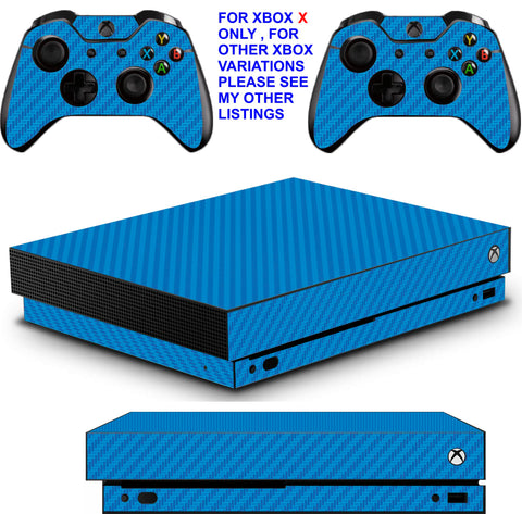 BLUE CARBON EFFECT XBOX ONE X *TEXTURED VINYL ! * PROTECTIVE SKINS DECALS STICKERS