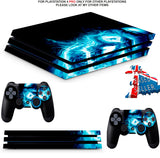 BLUE SKULL PS4 PRO SKINS DECALS (PS4 PRO VERSION) TEXTURED VINYL