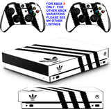 ADIDAS WHITE & BLACK XBOX ONE X *TEXTURED VINYL ! * PROTECTIVE SKINS DECALS STICKERS