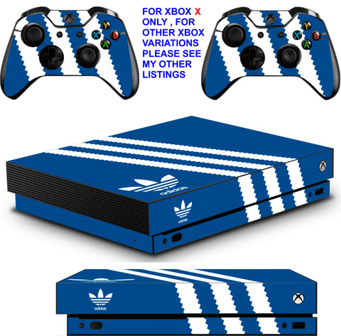 ADIDAS BLUE XBOX ONE X *TEXTURED VINYL ! * PROTECTIVE SKINS DECALS STICKERS