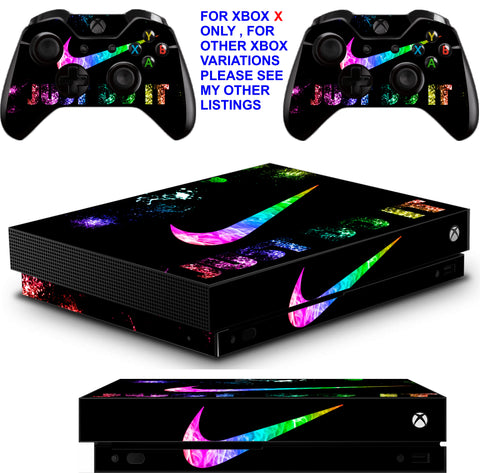 NIKE TICK BRIGHT XBOX ONE X *TEXTURED VINYL ! * PROTECTIVE SKINS DECALS STICKERS
