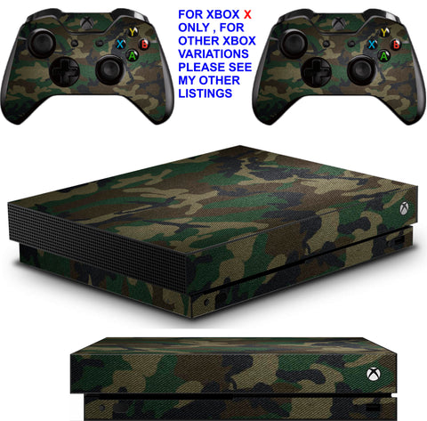 GREEN CAMO XBOX ONE X *TEXTURED VINYL ! * PROTECTIVE SKINS DECALS STICKERS