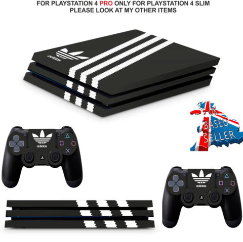 ADIDAS BLACK & WHITE PS4 PRO SKINS DECALS (PS4 PRO VERSION) TEXTURED VINYL