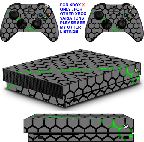 GREEN HEX XBOX ONE X *TEXTURED VINYL ! * PROTECTIVE SKINS DECALS STICKERS