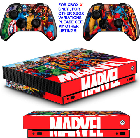 MARVEL XBOX ONE X *TEXTURED VINYL ! * PROTECTIVE SKINS DECALS STICKERS
