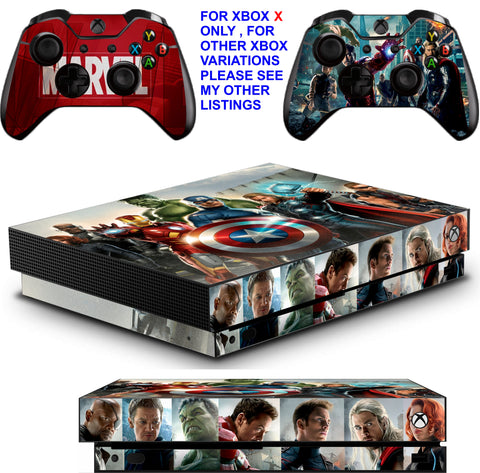 AVENGERS XBOX ONE X *TEXTURED VINYL ! * PROTECTIVE SKINS DECALS STICKERS