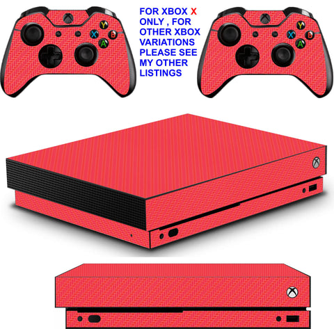 RED CARBON EFFECT XBOX ONE X *TEXTURED VINYL ! * PROTECTIVE SKINS DECALS STICKERS