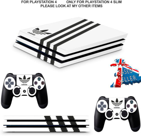 ADIDAS WHITE & BLACK PS4 PRO SKINS DECALS (PS4 PRO VERSION) TEXTURED VINYL