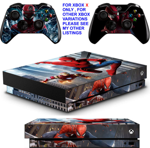 SPIDERMAN XBOX ONE X *TEXTURED VINYL ! * PROTECTIVE SKINS DECALS STICKERS