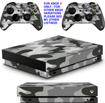 GRAY CAMO XBOX ONE X *TEXTURED VINYL ! * PROTECTIVE SKINS DECALS STICKERS