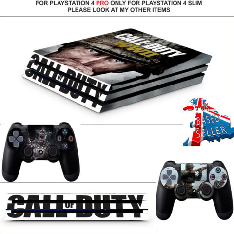 CALL OF DUTY WWII PS4 PRO SKINS DECALS (PS4 PRO VERSION) TEXTURED VINYL