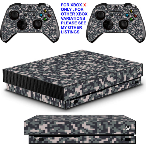 DIGITAL CAMO XBOX ONE X *TEXTURED VINYL ! * PROTECTIVE SKINS DECALS STICKERS