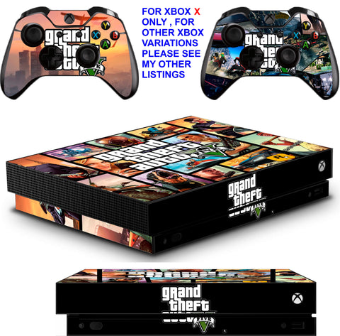 GTA 5 XBOX ONE X *TEXTURED VINYL ! * PROTECTIVE SKINS DECALS STICKERS