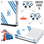 ADIDAS WHITE & BLUE XBOX ONE S (SLIM) *TEXTURED VINYL ! * PROTECTIVE SKIN DECAL WRAP