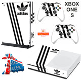 ADIDAS WHITE & BLACK XBOX ONE S (SLIM) *TEXTURED VINYL ! * PROTECTIVE SKIN DECAL WRAP