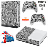 BLACK & WHITE STICKER BOMB XBOX ONE S (SLIM) *TEXTURED VINYL ! * PROTECTIVE SKIN DECAL WRAP